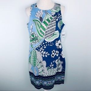 NWT London Times Blue Multi Print Dress Sz 8